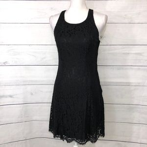 H&M Black Cocktail Lace Overlay Dress - 10